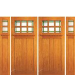 AAW Inc. AC-703-A-2-2-S Arts & Crafts Doors Brazilian Mahogany Craftsman Style Double Entry Doors and Two Sidelites with Unique Glass