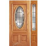 AAW Inc. Z OAK-2-Standard-1-1 Z Oak Doors Solid Red Oak Entry Door and Sidelite with Oval Glass