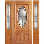 AAW Inc. Z OAK-2-Standard-1-2 Z Oak Doors Solid Red Oak Entry Door and Double Sidelites with Oval Glass
