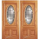 AAW Inc. Z OAK-2-Standard-2 Z Oak Doors Solid Red Oak Double Entry Door with Oval Glass