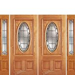 AAW Inc. Z OAK-2-Standard-2-2 Z Oak Doors Solid Red Oak Double Entry Door and Double Sidelites with Oval Glass