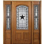 MAI Doors SC239-1-2 Hill Country Exterior Mahogany Door and Sidelites with an Intricate Beveled Glass Design and Ironwork