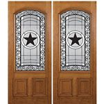 MAI Doors SC239-2 Hill Country Exterior Mahogany Double Door with an Intricate Beveled Glass Design and Ironwork