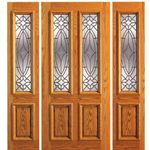 AAW Inc. 101-A-1-2 OAK Unique Red Oak Entry Doors Single Door, Two Sidelites, Red Oak, Traditional with Insulated Beveled Glass