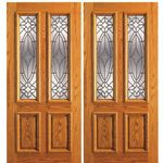 AAW Inc. 101-A-2 OAK Unique Red Oak Entry Doors Double Door, Red Oak, Traditional with Insulated Beveled Glass
