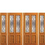 AAW Inc. 101-A-2-2 OAK Unique Red Oak Entry Doors Double Door, Two Sidelites, Red Oak, Traditional with Insulated Beveled Glass