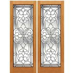 AAW Inc. H-2 Decorative Glass Doors Pair of Full Beveled Glass Doors with Unique Design