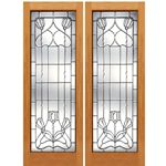 AAW Inc. J-2 Decorative Glass Doors Pair of Full Beveled Glass Doors with Unique Design