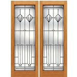 AAW Inc. N-2 Decorative Glass Doors Pair of Full Beveled Glass Doors with Unique Design