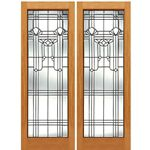 AAW Inc. Q-2 Decorative Glass Doors Pair of Full Beveled Glass Doors with Unique Design