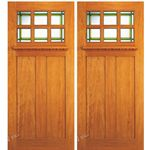 AAW Inc. AC-703-A-2 Arts & Crafts Doors Brazilian Mahogany Craftsman Style Double Entry Doors with Unique Glass