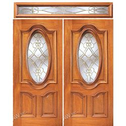 AAW Inc. X-350-2-ST Expo Doors Double Door, Square Transom, Mahogany, Traditional with Unique Glasswork