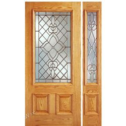 AAW Inc. Z-1-Rectangle-1-1 Z Doors Single Door, One Sidelite, Mahogany, Traditional with Rectangle Glass