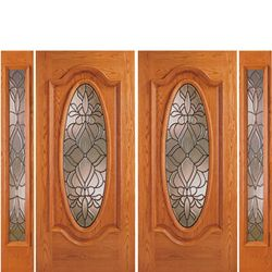 AAW Inc. Z OAK-6-Deluxe-2-2 Z Oak Doors Solid Red Oak Double Entry Door and Double Sidelites with Oval Glass