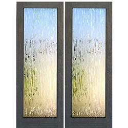 AAW Inc. FG-6-2 Decorative Glass Doors Pair of Mahogany 1-Lite with Contemporary Glacier Glass Pattern