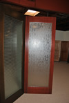 Mahogany 1-Lite with Contemporary Glacier Glass Pattern